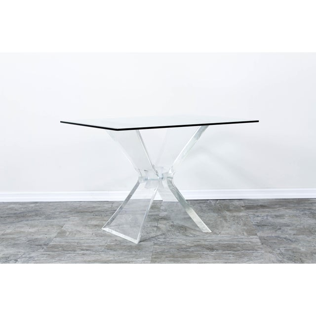Glass Lucite Butterfly X Base Side Table For Sale - Image 7 of 10
