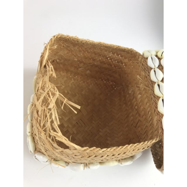 1970s 1970s Vintage Cowrie Shell Covered Baskets - A Pair For Sale - Image 5 of 10