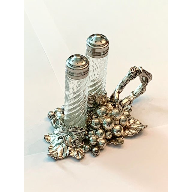 American Sterling Silver Grape Leaf with Salt and Pepper Shakers For Sale - Image 3 of 4