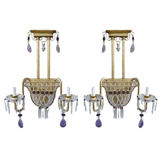 Pair of Amethyst Crystal Beaded Gilt Metal Sconces For Sale