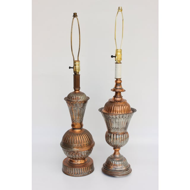 Tinned Copper Lamps - a Pair - Image 2 of 6