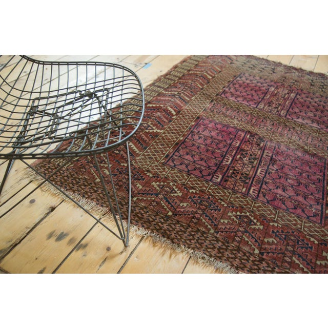 "Shabby Chic Antique Turkmen Square Rug - 4'5"" x 4'11"" For Sale - Image 3 of 10"