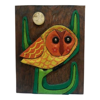 Vintage Owl on Cactus Wood Carved Wall Plaque Home Decor