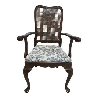 Ethan Allen Georgian Court Queen Ann Cane Back Desk Arm Chair For Sale