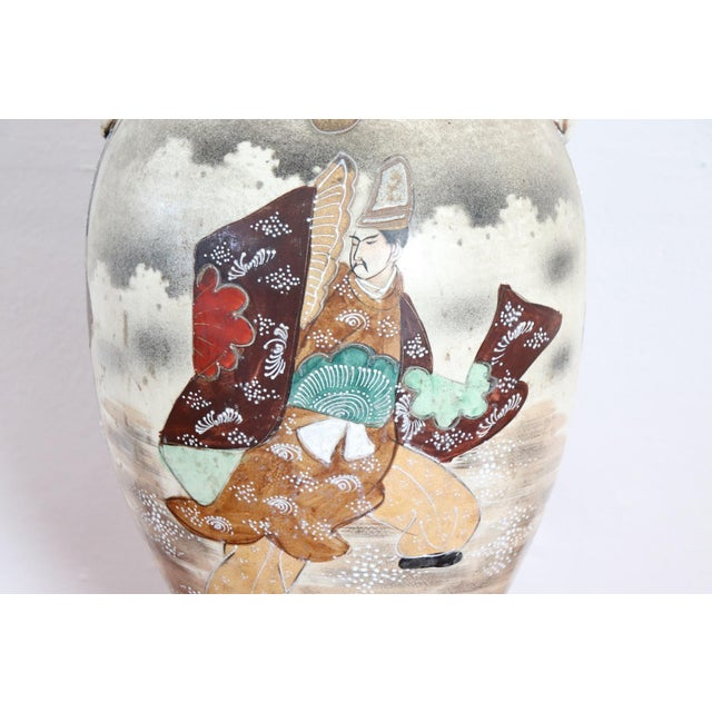 20th Century Japanese Vintage Artistic Satsuma Vase in Decorated Ceramic For Sale - Image 10 of 12