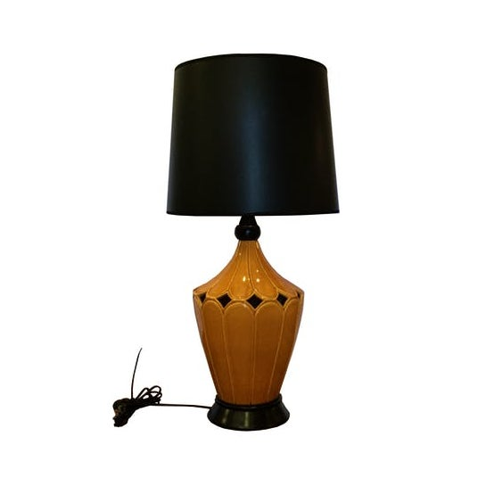 "Vintage mustard ceramic lamp new 3 way wiring, base, and black lined in gold shade. Base measures 8"" in diameter, base to..."