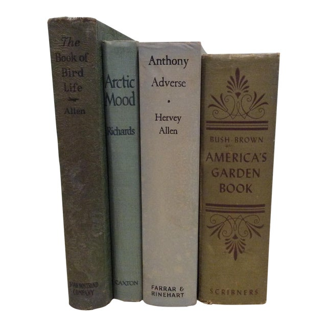 Vintage Green Book Stack - Set of 4 - Image 1 of 11