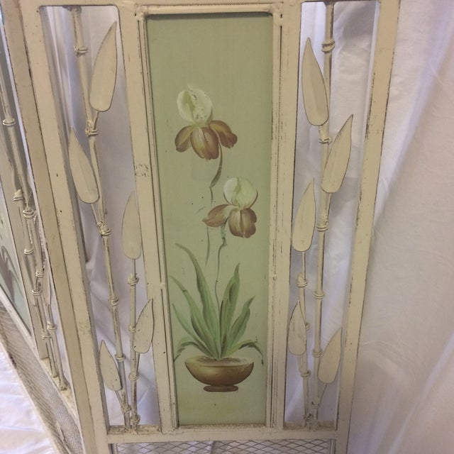 Vintage Shabby Chic Metal Hand Painted Fireplace Screen - Image 9 of 10