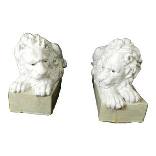 Late 19th C. Vintage Italian White Glazed Terracotta Lion Statues- a Pair For Sale