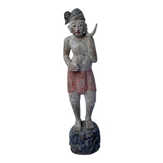 Vintage Painted Wood Carved Asian Statue For Sale