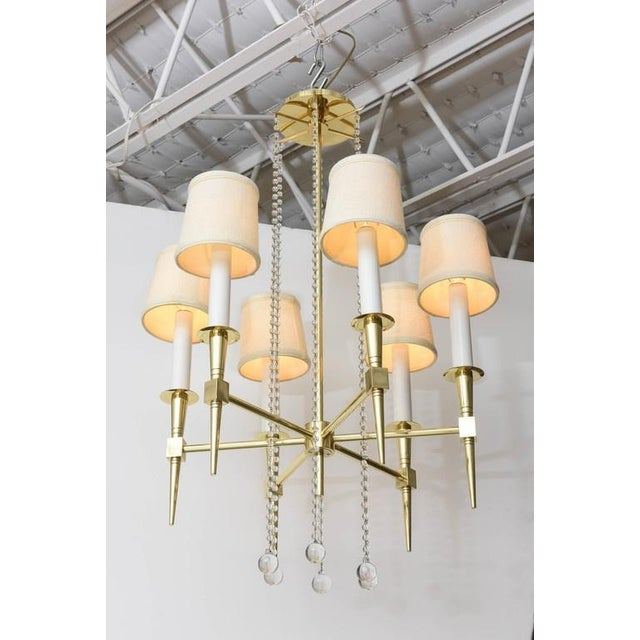 Polished Brass and Glass Beaded Chandelier by Tommi Parzinger For Sale - Image 10 of 10