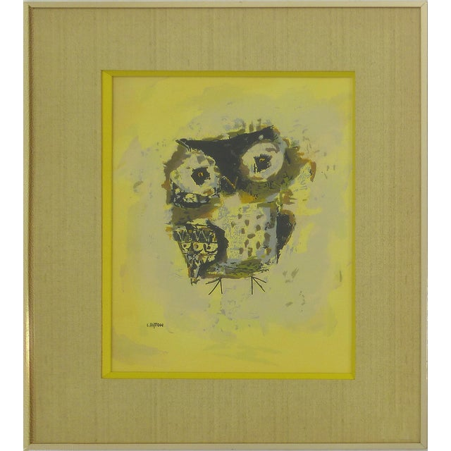 Mid-Century Owl Paintings - A Pair - Image 3 of 10
