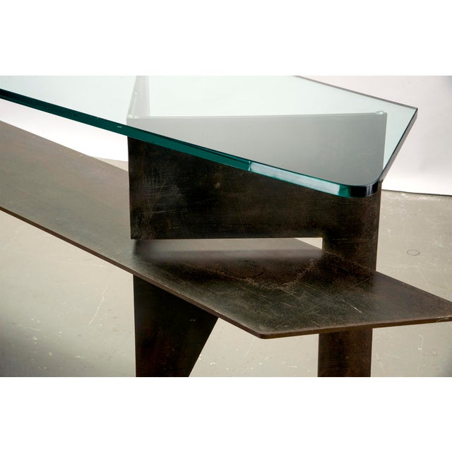 Glass Extra Large Brutalist Console with Iron Base and Glass Top For Sale - Image 7 of 8