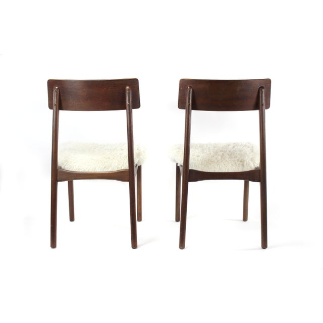 1950s Mid-Century Modern Shag and Wood Chairs - a Pair For Sale - Image 4 of 8
