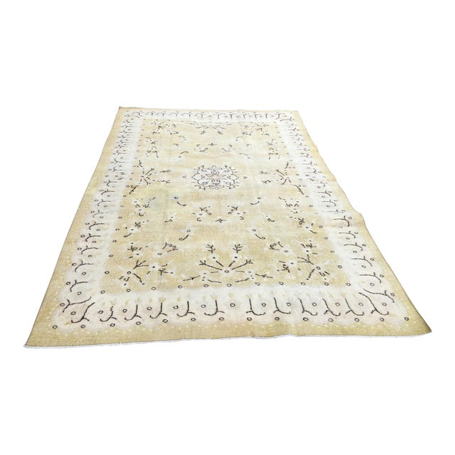 1980s Yellow Oushak Anatolian Lowpile Distressed Rug - 6′2″ × 9′4″ For Sale