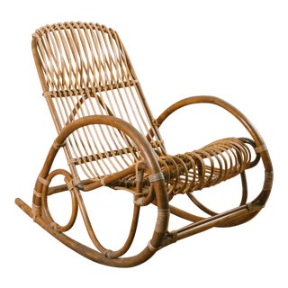 1950s Vintage Franco Albini Style Rattan Rocking Chair For Sale