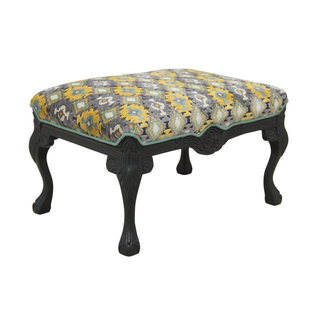 Newly Upholstered Carved Ottoman in Gray, Yellow & Teal - Image 2 of 6