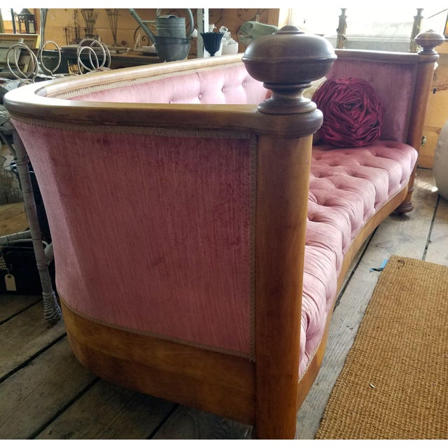 Late 19th Century Large Antique Maple and Velvet Sofa For Sale - Image 5 of 13