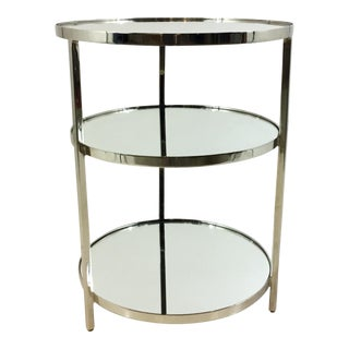 Arteriors Modern Nickel 3-Tier Percy End Table For Sale