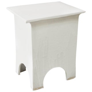"Modern Artisan Series Stool and Side Table ""Blanco"" For Sale"