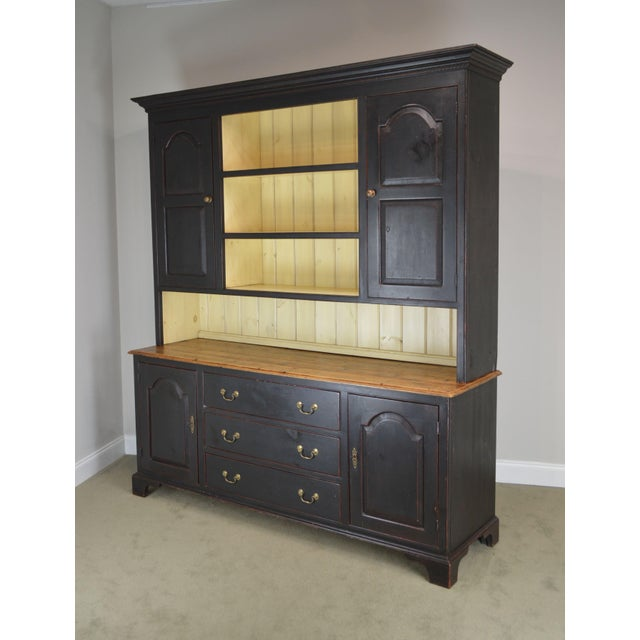 High Quality American Made Hand Crafted Large 2 Piece Dresser Base Hutch in a Distressed Painted Finish