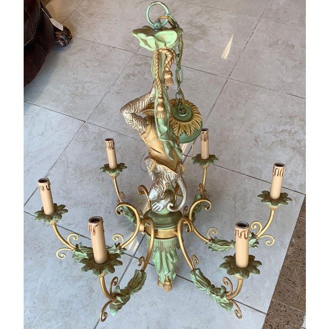 Vintage Monkey Carved Wood Chandelier For Sale In Tampa - Image 6 of 13