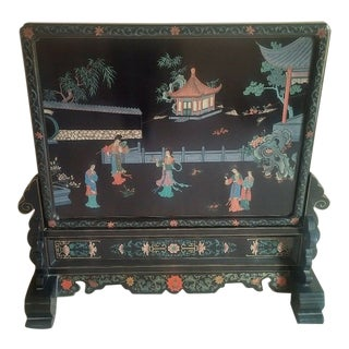 Vintage Coromandel Chinese Room Divider Table Panel Screen With Dual Sided Hand Carved & Painted Art For Sale