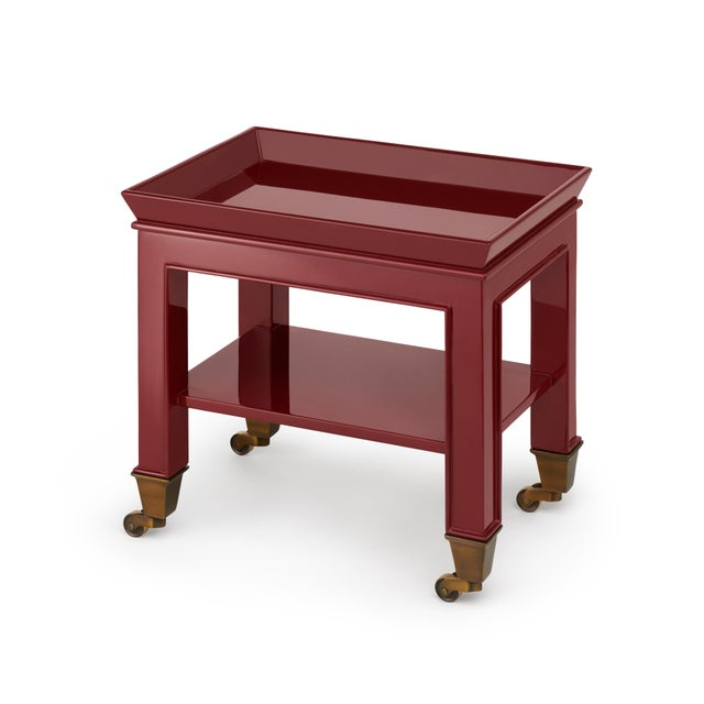 Contemporary Miles Redd Collection Telephone Table in Garnet Red For Sale - Image 3 of 3