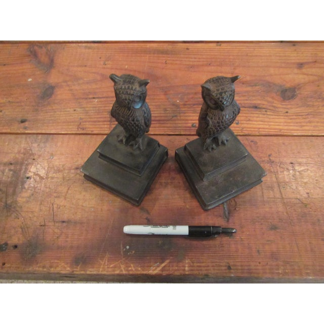 Vintage Bronze Owl Bookends - A Pair For Sale - Image 6 of 8