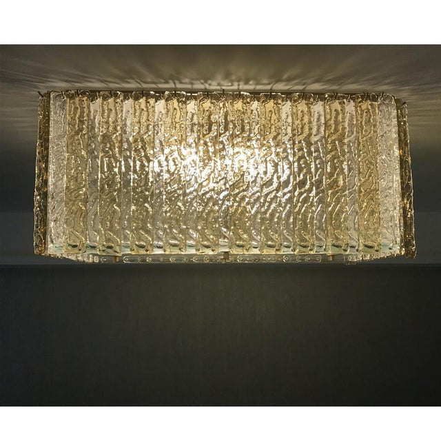 Not Yet Made - Made To Order Contemporary Art Deco Style Italian Amber Crystal Murano Glass Flush Chandelier For Sale - Image 5 of 11