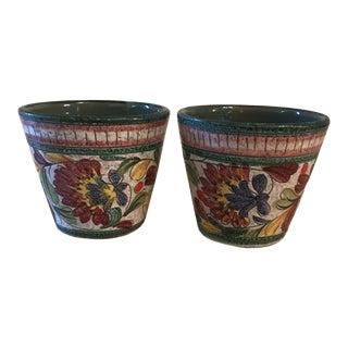 1970s Vintage Colorful Textured Italian Flower Pots Planter For Sale