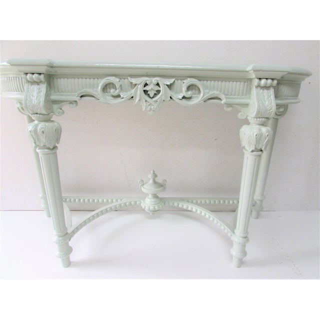 French Louis XV Style Lacquered Console Table For Sale - Image 5 of 8