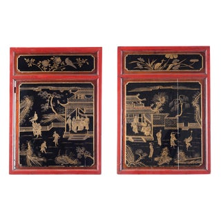 Tongzhi Era Chinese Antique Wood Panels - a Pair For Sale