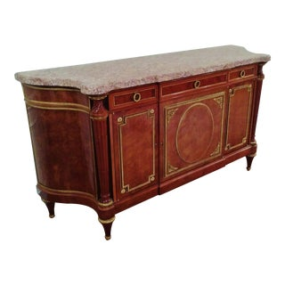 19th Century Louis XVI Jansen Bronze & Marble Top Sideboard Server Buffet For Sale