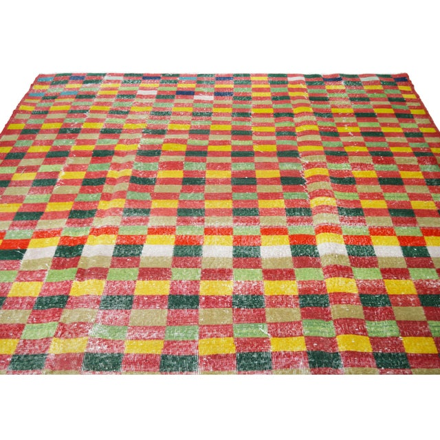 Vintage Turkish Anatolian Art Deco hand knotted rug with natural colors and fine weave.