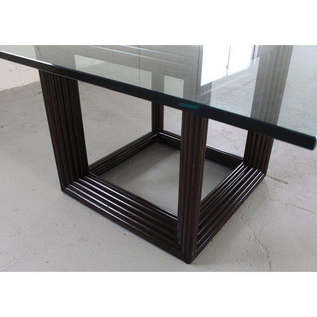 Black Large Square Thick Glass Top Rattan Cube Base Dining Conference Table For Sale - Image 8 of 13