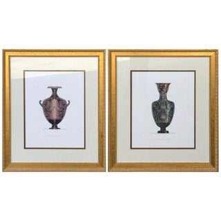 Pair of Large Scale Neoclassical Etruscan Urn Prints After Henry Moses For Sale