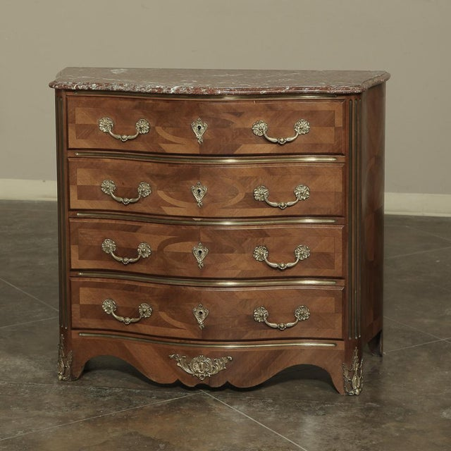 19th Century French Louis XIV Marble Top Commode With Marquetry For Sale - Image 11 of 11