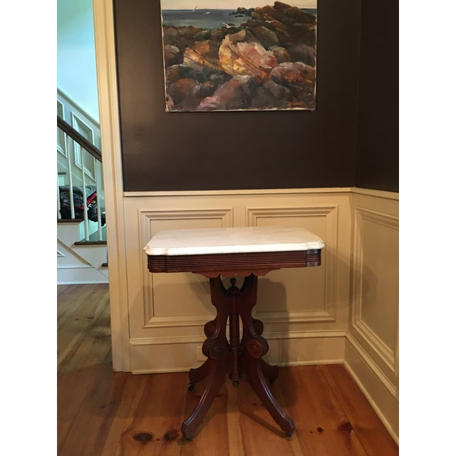 1900s Eastlake Victorian Marble Top Table For Sale - Image 5 of 7