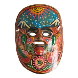 Vintage Mexican Painted Clay Mask For Sale