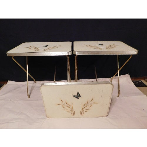Mid-Century Butterfly/Wheat Design TV Tables - S/3 - Image 2 of 6