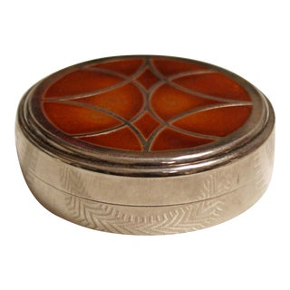 Antique Art Deco Nouveau Christofle France Silver Inlaid Talisman Circular Box For Sale