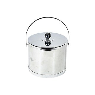 1960s Round Chrome Ice Bucket For Sale