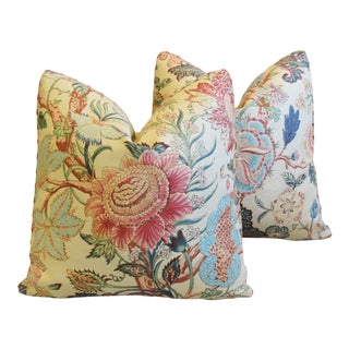 """Travers Floral Tree of Life Linen Feather/Down Pillows 21"""" Square - Pair For Sale"""