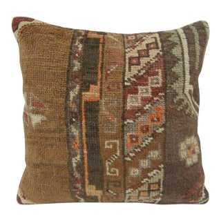 Vintage Turkish Handmade Brown Pillow Cover For Sale