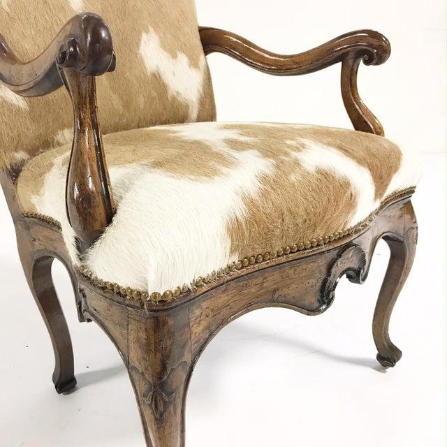 1770s Antique Italian Walnut Armchair Restored in Brazilian Cowhide - Image 7 of 10