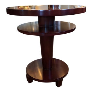 1980s Traditional Swaim Furniture Two-Tiered Round Center Table For Sale