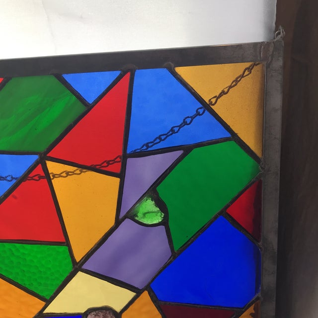 1970s Square Rainbow Stained Glass For Sale - Image 5 of 7