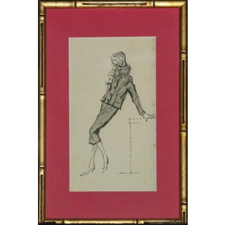 Vintage Framed Chic Lady Watercolor Sketch For Sale