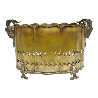 Brass Rams Head Jardiniere For Sale